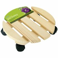 New gardman wooden pot trolley-plant holder 30cm round move pots easily
