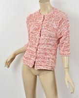 Anthropologie OTTOD'AME Pink Orange White Marled Chunky Crop Cardigan Sweater S