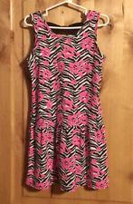 FADED GLORY Zebra Print Hot Pink Floral Dress EUC M (7-8)