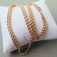 Pure 18K Rose Gold Necklace Classic 2mm Rope Link Chain Necklace 21.6INCH Au750