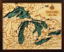 "THE GREAT LAKES 16"" x 20"" New, Laser-Cut 3-Dimen Wood Chart/Lake Art Map"