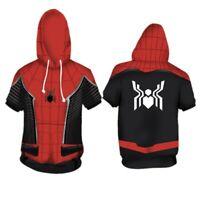 Marvel Spider Man Hoodie Spider-Man Far From Home Short Sleeve Hoodie Sweatshirt