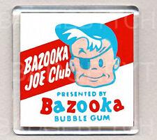 BAZOOKA JOE CLUB square FRIDGE MAGNET - WHITE EDITION  - RETRO COOL !