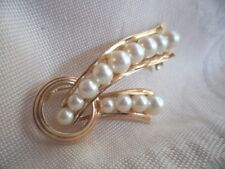 MIKIMOTO VINTAGE JEWELRY SOLID GOLD PEARL BROOCH PIN 13 LUCKY GRADUATED PEARLS