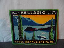 Rare Vintage Etiquette hotel Luggage label Hotel Grande Bretagne Bellagio