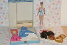 PRETTY! Vintage Fashion Queen Barbie With 6 Wigs, Wig Stand, Blue Barbie 1961 Po