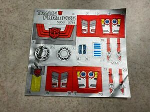 Vintage G1 Transformers Unused Decal Sticker Sheet 1987 FASTLANE & CLOUDRAKER