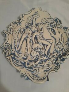 Blue and White Romantic Ceramic Wall Plaque Victorian Style Shabby Chic French
