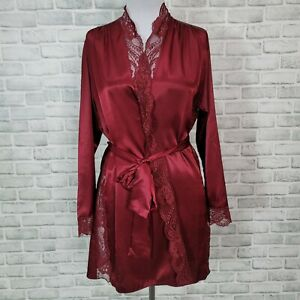 Fredericks of Hollywood Womens L Maroon Satin Robe with Side Lace Trim