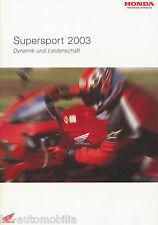 Honda Prospekt 2003 3/03 brochure VTR 1000 SP-2 Fireblade Firestorm CBR600 moto