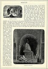 Apisgräber & Sarkophag in Serapeion * Originalblatt von 1884
