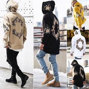 Mens Winter Casual Hoodies Warm Jumper Sweatshirt Hooded Floral Coat Long Tops