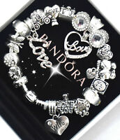 "Authentic Pandora Bracelet Silver Wife ""Love Story"" European Charms"