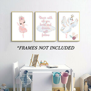 Ballerina and Swan Prints - Dance with All Your Heart - Set of 3