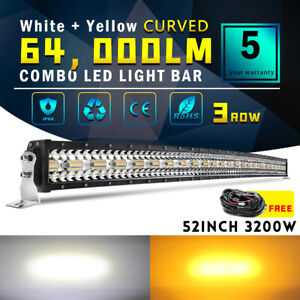 """3200W 50INCH Curved White Amber Strobe LED Light Bar Spot Flood Offroad 52"""" Wire"""