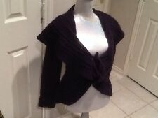 Elsamanda made in Italy Chunk Sweater cardigan Navy blueish-purple tie NWT L