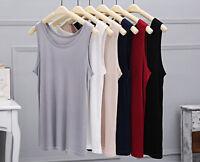 Fashion Men's 100% Silk Tank Top Undershirt T Shirts Singlet Casual-Tee Tops New