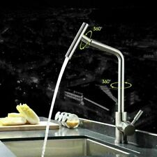 360° Swivel KITCHEN SINK MIXER TAP SINGLE HANDLE STAINLESS STEEL BRUSHED