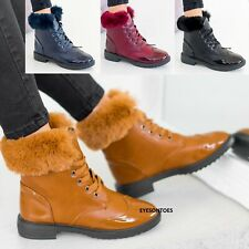 LADIES WOMENS FAUX FUR LINED WARM GRIP SOLE WINTER ANKLE TRAINERS BOOTS SHOES SZ
