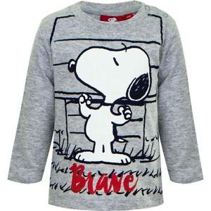 PEANUTS SNOOPY Baby Langarmshirt Kinder Junge Mädchen Shirt T-Shirt Neu 6-24 M