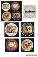 """Vintage Sakura Stoneware Plates 8.25""""  RETRO ROOSTER 4-Piece Set"""