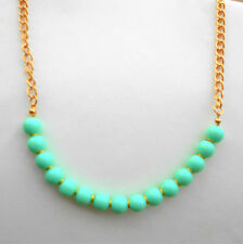 Gold tone chain and turquoise blue bead necklace Approx.18.1/2 plus 2""