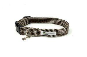 Brown Houndstooth Adjustable Dog Collar
