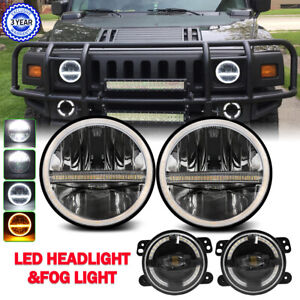 """7"""" Led Headlights & 4"""" Fog Lights Combo Kit For Hummer H3 H3T Jeep Wrangler JK"""