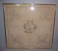 Framed Antique French Silk Textile with Floral Embroidery