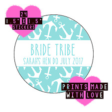 Bride tribe personalised stickers b anchor arrow 24 stickers hen do nautical