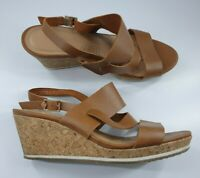 Van Dal size 5 tan brown leather buckle slingback platform wedge heel sandals