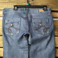See Thru Soul Womens Jeans Size 29x32 Medium Wash Low Rise Boot Cut J1814