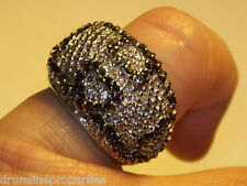 STERLING SILVER 925 ESTATE BLACK WHITE CZ HEART DOME BAND RING SIZE 6