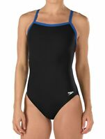 Speedo Women's Swimwear Blue Black Size 26 Contrast Trim One-Piece $69 #148