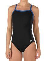 Speedo Women's Swimwear Blue Black Size 26 Contrast Trim One-Piece $69 #148
