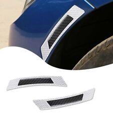 2X Real Carbon Fiber White Reflective Car Wheel Eyebrow Edge Protection Stickers