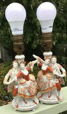 VTG Victorian Couple Porcelain Figurines 2 Bedroom Lamps w Shades Footed Japan