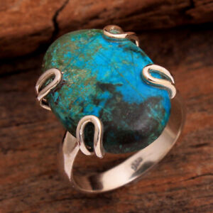 Oval Chrysocolla Gemstone 925 sterling Silver Jewelry Solid Ring Size US 6.25