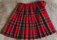 """St.Michael Kilt Age 9 Waist 22-25"""" Lenght 15"""" Red Green Yellow Navy White Wool"""