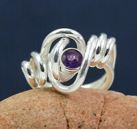 925 Sterling Silver Jewelry Amethyst Gemstone Women's Gift Ring Size US 6.25