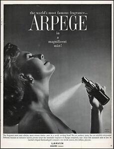 1960 smiling Woman spraying Arpege mist fragrance retro photo print ad adl83