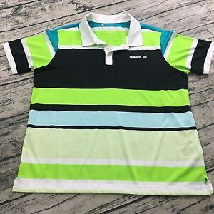 Adidas Womens Polo Colorblock Golf Shirt Top Size XL Striped Short Sleeve