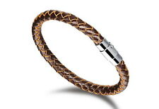 Men's Stainless Leather Braided Band Bracelet Bangle Brown