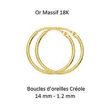 Dolly-Bijoux Boucles Oreilles Créole Tube Lisse 14 mm - 1.2 mm Or Massif 18K