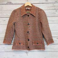 Harolds Womens Lambswool Cardigan Size S Pink Brown Orange
