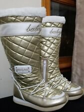 Baby Phat Quilted Patent Faux Fur Trim Women Gold and White Winter Boot Size 6