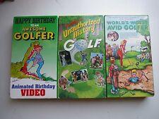 3 Vhs Golf Videos_Happy Birthday_Unauthorized History_World'S Worst Avid Golfer