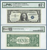 1957B $1 Silver Certificate Dollar PMG 67 EPQ Superb Gem New Unc Blue Seal Note