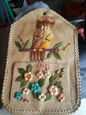 Vintage Letter Mail Bill Organizer Bahamas Owl Straw Wall Hanging