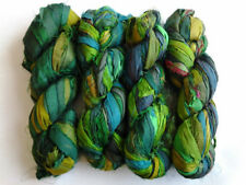 50 Skeins Crafts Sari Silk Ribbon Yarn Bright Green Undyed Recycled Ribbons